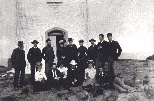 Cape Bruny Lighthouse 1913 with a group of people in front