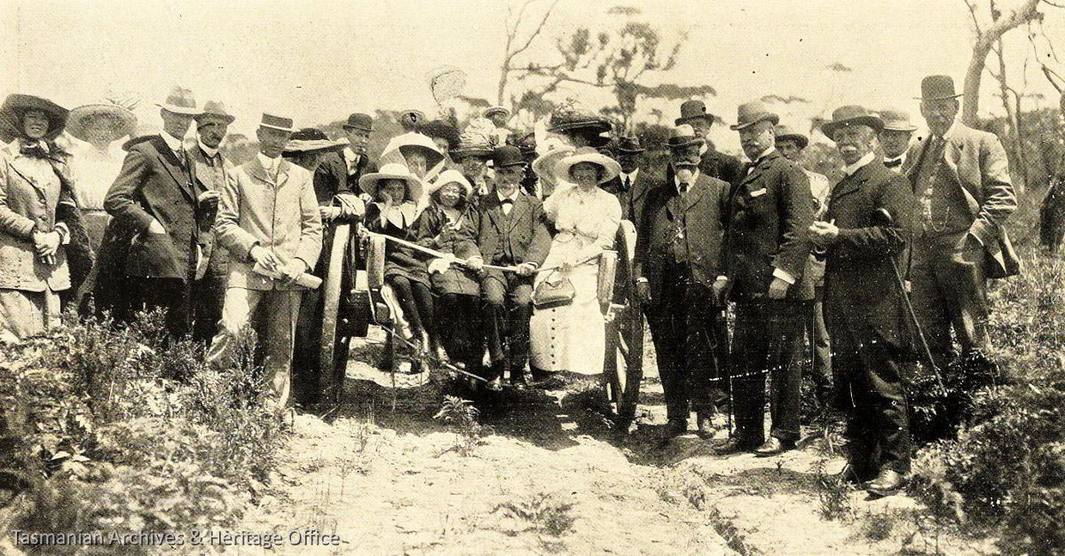 Cape Bruny historic image. Prior to 1900 people and horse and cart